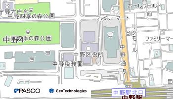 中野区役所の周辺地図(クリックすると広域地図のページが別ウインドウで開きます)